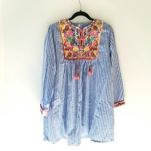 Striped boho vintage embroidered tunic dress